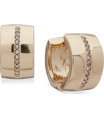 anne klein gold-tone small pave clip-on huggie hoop earrings, 0.5""