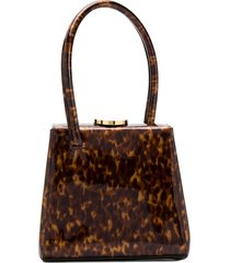 little liffner mini mademoiselle tortoiseshell-effect tote - brown