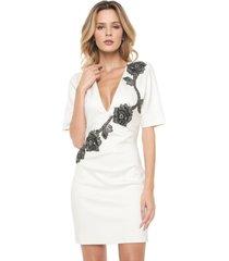vestido lança perfume curto pedraria off-white