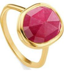 gold siren medium stacking ring pink quartz