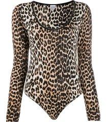 ganni leopard print long-sleeve bodysuit - brown