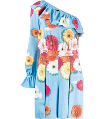 moschino one shoulder floral print dress - blue