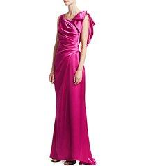 shiny matte crepe satin gown