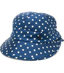 maison michel min polka dots silk visor - blue