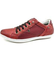 calçado masculino sapatênis em couro vermelho kéffor linha fênix - kanui