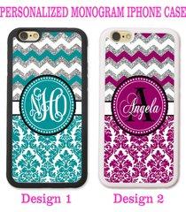 silver teal plum purple chevron damask monogram case for iphone 7s 6s plus se 5s