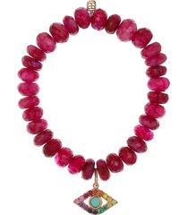fuschia quartz evil eye bead bracelet