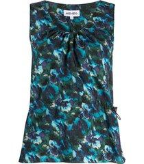 kenzo floral-print sleeveless top - azul