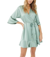 plum pretty sugar trumpet sleeve satin short robe, size x-small in pacific at nordstrom