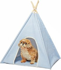precious tails canvas stripe pet tee pee with 4 wooden rods