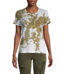 prince peter collection women's tie-dye cotton t-shirt - army - size s
