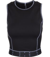 mcq alexander mcqueen black cropped top with logo woman