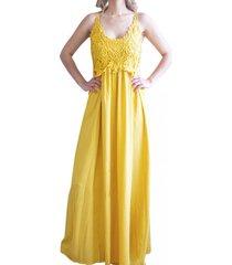 vestido bordado yellow zagora