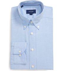 men's eton soft casual line slim fit oxford shirt, size 14.5 - blue