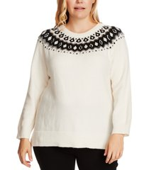 vince camuto plus size fair isle knit pullover sweater