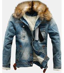 giacca da uomo in blazer di jeans con collo in pelliccia