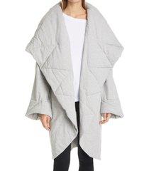 women's norma kamali shawl collar hooded coat, size medium - grey
