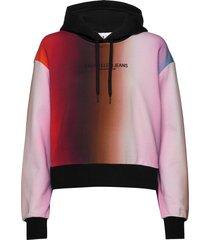blur aop overs hoodie trui multi/patroon calvin klein jeans