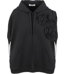 valentino 3d roses hoodie cape