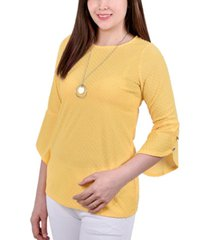 ny collection petite 3/4 tulip sleeve top with necklace