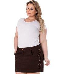 mini saia confidencial extra plus size em sarja com trançado feminina