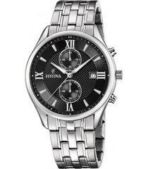 reloj f6854/8 retro plateado festina