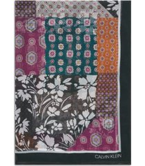 calvin klein paisley patchwork-print scarf