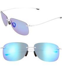 women's maui jim hikina 62mm polarizedplus2 rimless sunglasses - blue hawaii/ matte crystal