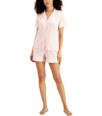 charter club printed notch-collar top & shorts pajama set, created for macy's