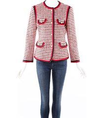 gucci red blue striped wool tweed jacket blue/red sz: m