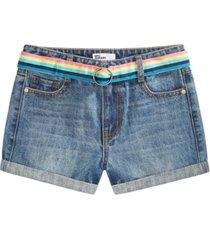 epic threads big girls denim shorts with rainbow belt, created for macy's