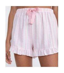 short de pijama em flanela com listras e babadinho | lov | rosa | g