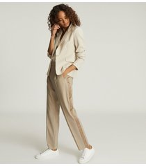 reiss jay - pleat front tailored trousers in oatmeal, womens, size 12