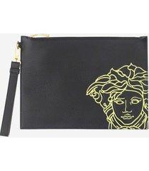 versace designer men's bags, black leather medusa clutch w/wristlet