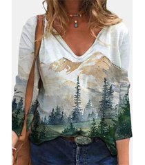 camicetta a maniche lunghe casual con stampa di paesaggi per donna