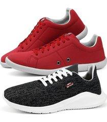 kit dois pares tãªnis caminhada com sapatãªnis confortã¡vel preto e vermelho - vermelho - masculino - sintã©tico - dafiti