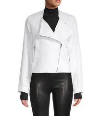 central park west women's linen biker jacket - white - size s