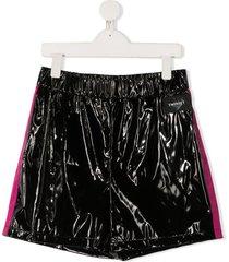 twin-set side stripe shorts - black