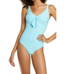 melissa odabash lisbon knotted one-piece swimsiut, size 8 in zigzag sky at nordstrom