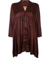 uma wang string tie draped blouse - red