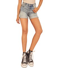 women's reformation max relaxed denim shorts, size 31 - blue