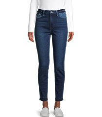 flying monkey women's high-rise seamless waistband ankle skinny jeans - dark blue - size 24 (0)