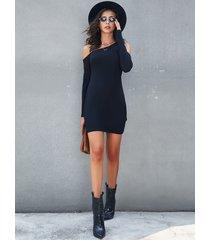 yoins black cold shoulder long sleeves jersey dress