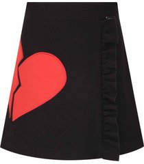 msgm black skirt for girl with red heart