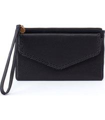 women's hobo leather wristlet - black