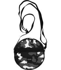bolsa redonda alkary camuflada preta
