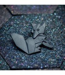 broszka porcelanowa origami lis czarna