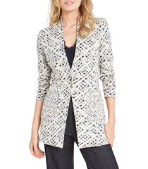 nic+zoe abstract check blazer, size small p in neutral multi at nordstrom