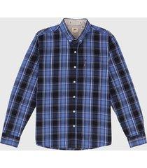 camisa azul-negro-blanco levis
