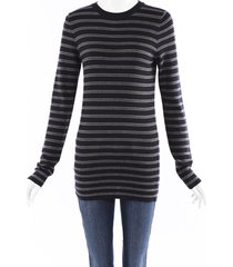 brunello cucinelli striped knit sweater black/gray sz: custom